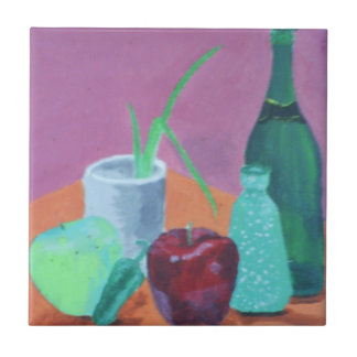 Fruits and Bottles Still Life Small Square Tile