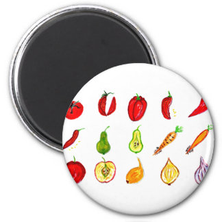 Fruits and Vegetables Art 6 Cm Round Magnet