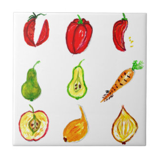 Fruits and Vegetables Art Small Square Tile