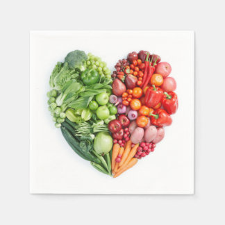 Fruits and Vegetables Heart Disposable Serviettes
