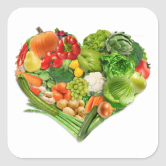 Fruits and Vegetables Heart - Vegan Square Sticker