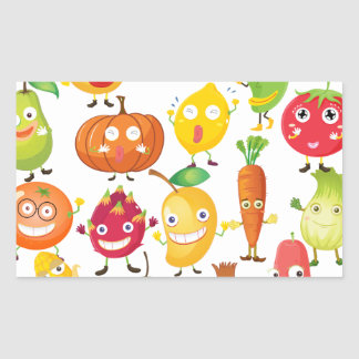 Fruits and vegetables with face rectangular sticker