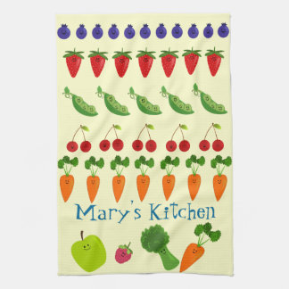 Fruits and Veggies Personalized Tea Towel