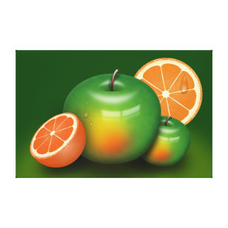 Fruits artistic illustration stretched canvas print
