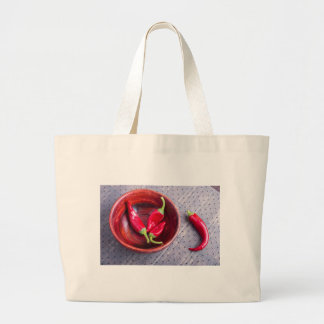 Fruits chilli hot red pepper large tote bag