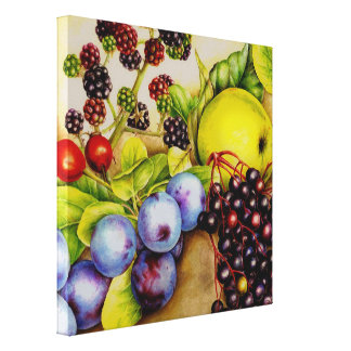 Fruits from the hedgerow painting canvas art print