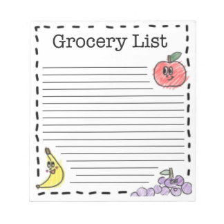 Fruits Grocery List Notepad