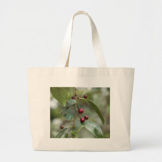 Fruits of a shiny leaf buckthorn large tote bag