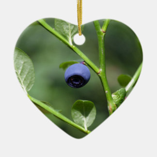 Fruits of the European blueberry Ceramic Heart Decoration