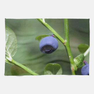 Fruits of the European blueberry Tea Towel