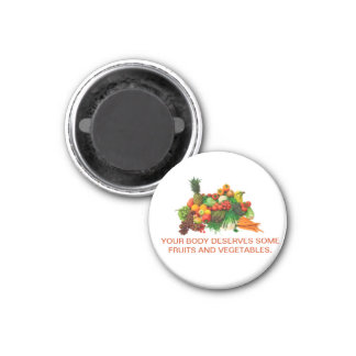 Fruits & Vegetable Customized Magnet. Eat Healthy. 3 Cm Round Magnet