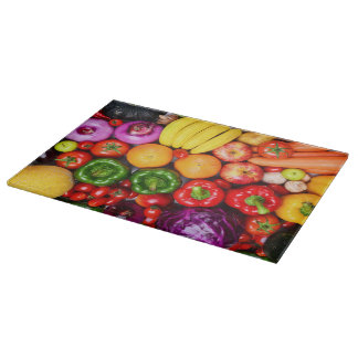 Fruits & Vegetable Decorative Glass Cutting Board