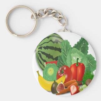fruits vegetables artichoke banana key ring