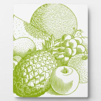 Fruits vintage food healthy retro plaque