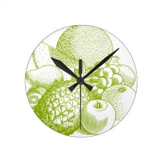 Fruits vintage food healthy retro round clock