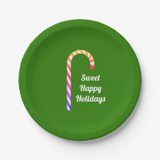 Fruity Candy Cane Sweet Holidays Paper Plates