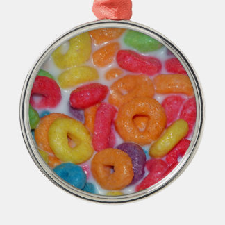 Fruity Cereal Silver-Colored Round Decoration