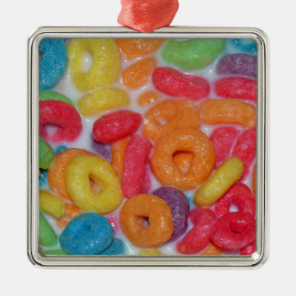 Fruity Cereal Silver-Colored Square Decoration