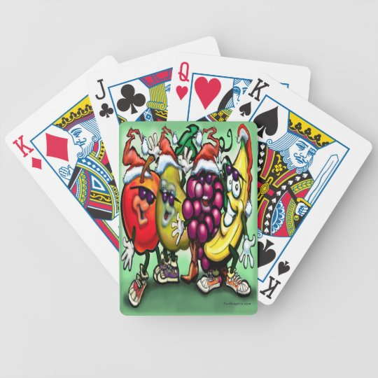 Fruity Christmas Bicycle Playing Cards