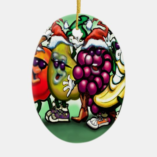 Fruity Christmas Ceramic Ornament