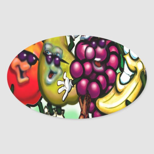 Fruity Christmas Oval Sticker