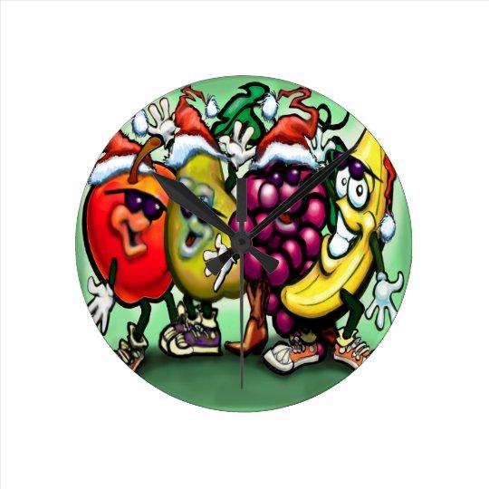 Fruity Christmas Round Clock