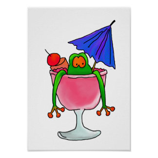 Fruity Cocktail Frog Poster