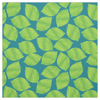 Fruity Green Limes on Deep Blue to Customize Fabric