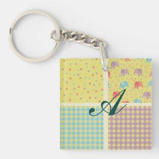 Fruity multi color gingam elephants kawai cute fun square acrylic key chains