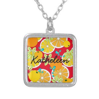 Fruity orange slices & blue birds (customizable) square pendant necklace