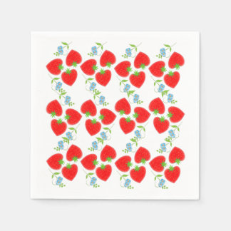 Fruity Strawberries Ditsy Blue Flowers Patterned Disposable Serviette