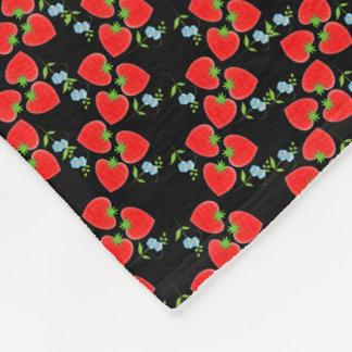 Fruity Strawberries Ditsy Blue Flowers Patterned Fleece Blanket