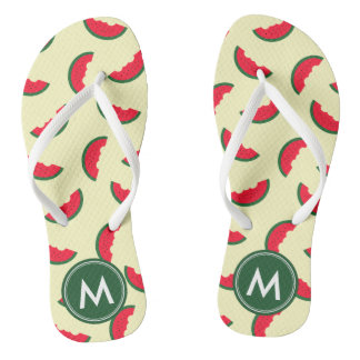 Fruity Summer Red Watermelon Monogram Thongs