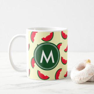 Fruity Summer Red Watermelon Pattern Monogram Coffee Mug