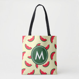 Fruity Summer Red Watermelon Pattern Monogram Tote Bag