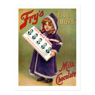 Fry s Five Boys Milk Chocolate Vintage Poster Post Card