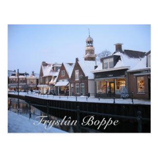 Fryslân Boppe Lemmer Canal Postcard