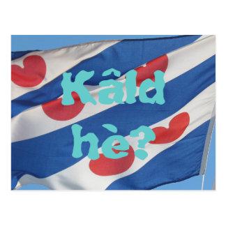 Fryslan Flag & Text Kâld hè? Postcard