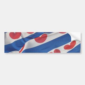 Fryslan Frisian Flag Bumper Sicker Friesland Vlag Bumper Sticker