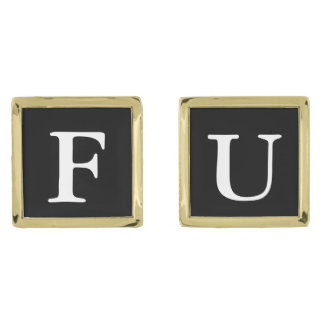 FU cufflinks Gold Finish Cufflinks