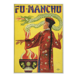 Fu-Manchu Magician Advertisement 13 Cm X 18 Cm Invitation Card