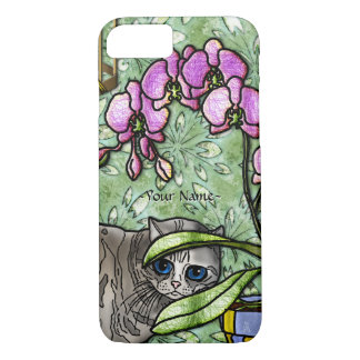 Fuchsia and Big-Eyed Kitty - Personalized iPhone 7 Case