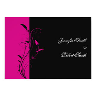 Fuchsia and Black Floral Filigree Wedding 13 Cm X 18 Cm Invitation Card