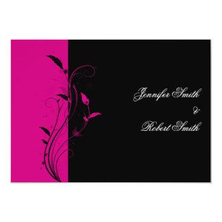 Fuchsia and Black Floral Wedding Invitation