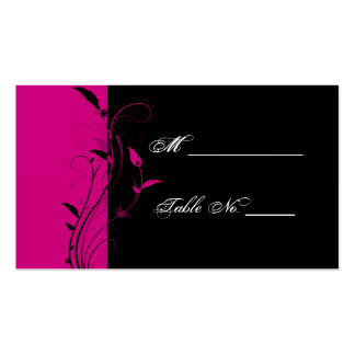 Fuchsia and Black Floral Wedding Place Cards Pack Of Standard Business Cards