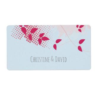 Fuchsia and blue, wedding sticker shipping label