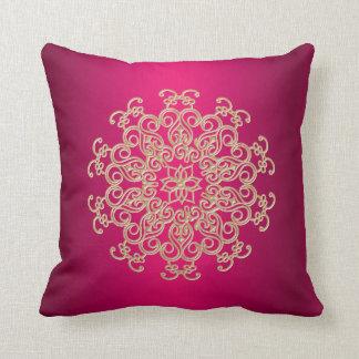 Fuchsia and Gold Indian Style Cushion