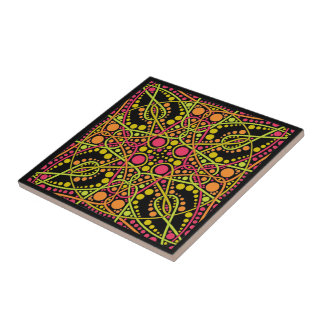 Fuchsia and green geometric pattern ceramic tile