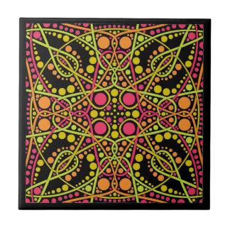 Fuchsia and green geometric pattern ceramic tile