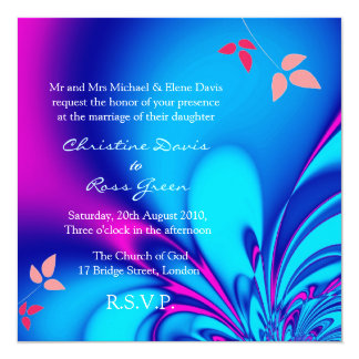 Fuchsia and navy blue wedding invitation